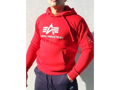 Alpha Industries 3D LOGO Hoody pánska mikina speed red a