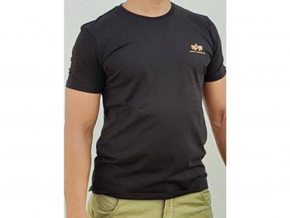 Alpha Industries Basic T Small logo Foil Print Black Gold tričko pánske