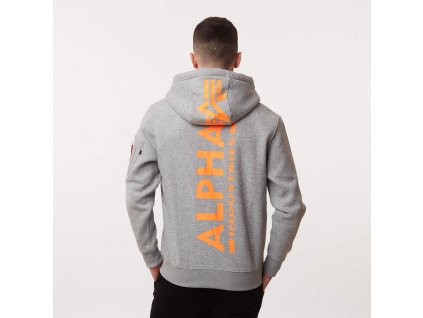 Alpha Industries Back Print Hoody Neon Print pánska mikina grey neon orange