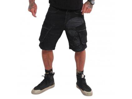 Yakuza cargo šortky KNUCKLE SKULL CARGO CSB 18022 black