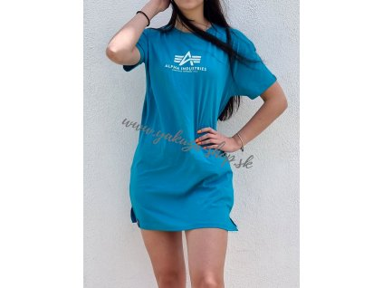 Alpha Industries T Long Wmn dámske tričko blue lagoon