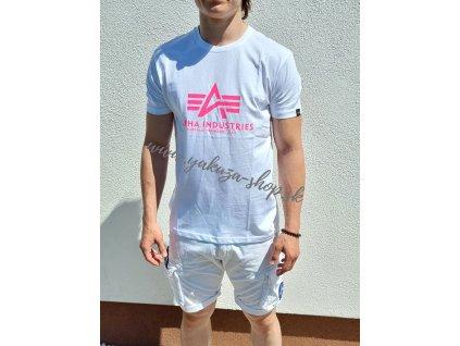 Alpha Industries Basic T Shirt White Pink tričko pánske