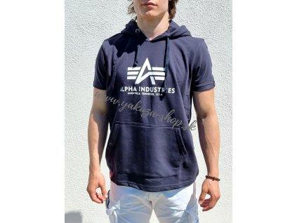 Alpha Industries BASIC T HOODED rep blue tričko pánske