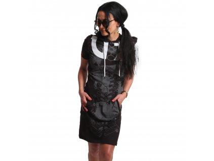 Yakuza dámske šaty 893 DIGITAL HOODE T SHIRT DRESS GKB 18125 black