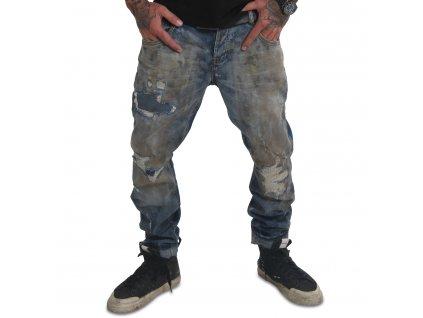 Yakuza jeansy pánske TALQUITO STRAIGHT JEANS JEB 18076 mid blue batik destroyed