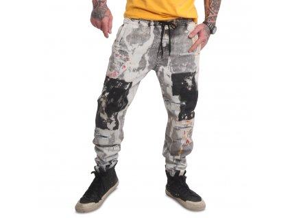 Yakuza jeansy pánske PESCADO JOGGING JEANS JEB 18077 white batik painted