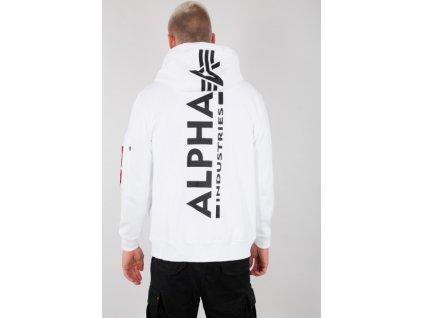 Alpha Industries BACK PRINT ZIP HOODY white pánska mikina f