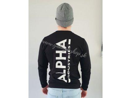 Alpha Industries Back Print Heavy LS pánske tričko s dlhým rukávom black
