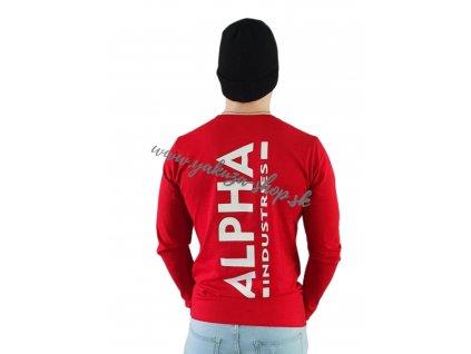 Alpha Industries Back Print Heavy LS pánske tričko s dlhým rukávom speed red