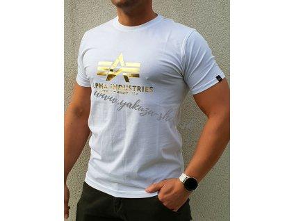 T Shirt Foil Print White Yellow Gold tričko pánske