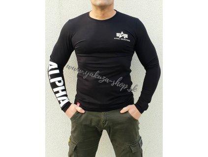 Alpha Industries Sleeve Print Heavy LS pánske tričko s dlhým rukávom black