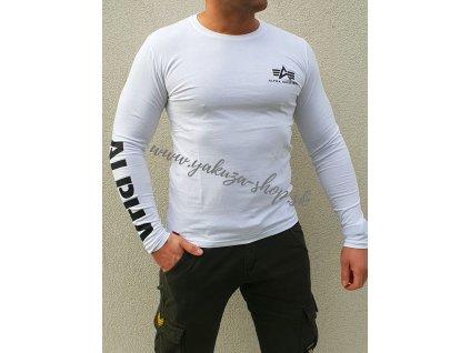 Alpha Industries Sleeve Print Heavy LS pánske tričko s dlhým rukávom white