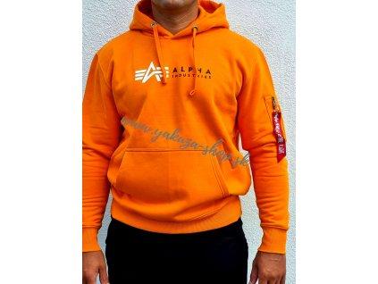 Alpha Industries Label Hoody Foil Print pánska mikina alpha orange d