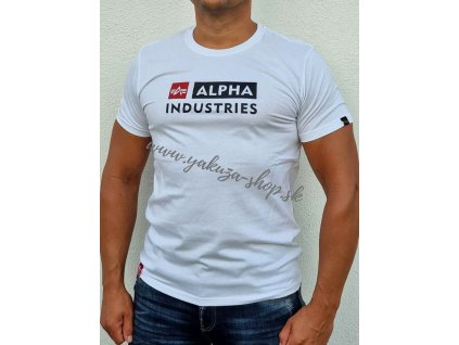 Alpha Industries BLOCK LOGO T tričko pánske white