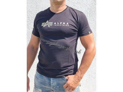 Alpha Industries LABEL T foil print tričko pánske black a