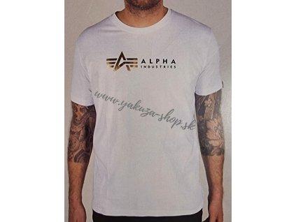 Alpha Industries LABEL T foil print tričko pánske white
