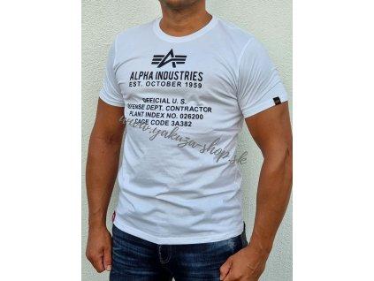 Alpha Industries ALPHA FUNDAMENTAL T tričko pánske white