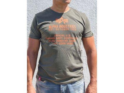 Alpha Industries ALPHA FUNDAMENTAL T tričko pánske dark olive
