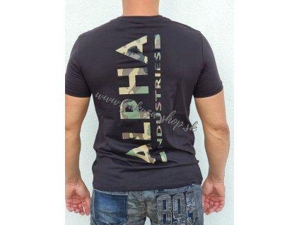 Alpha Industries BACKPRINT T black wood camo tričko pánske