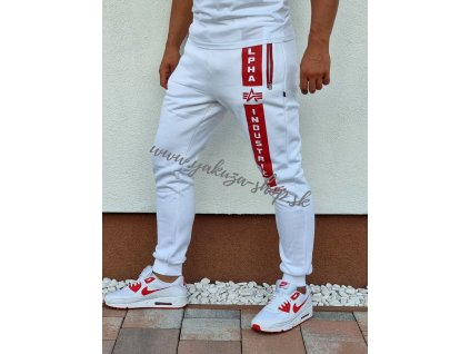 Alpha Industries DEFENCE JOGGER tepláky white red