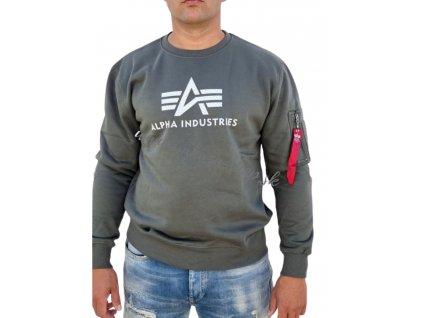 Alpha Industries 3D Logo Sweater II dark olive mikina pánska