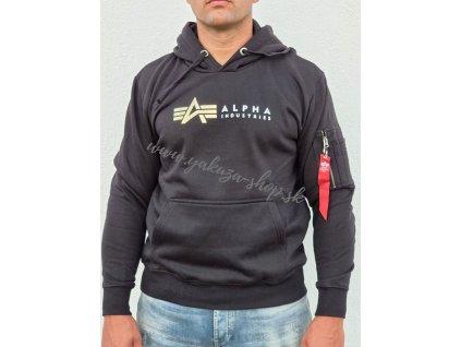 Alpha Industries Label Hoody Foil Print pánska mikina black