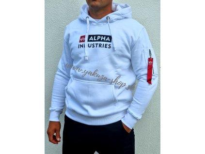 Alpha Industries BLOCK LOGO Hoody white pánska mikina 1