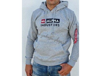Alpha Industries BLOCK LOGO Hoody grey pánska mikina