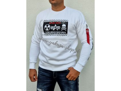 Alpha Industries mikina RADIOACTIVE Sweater white