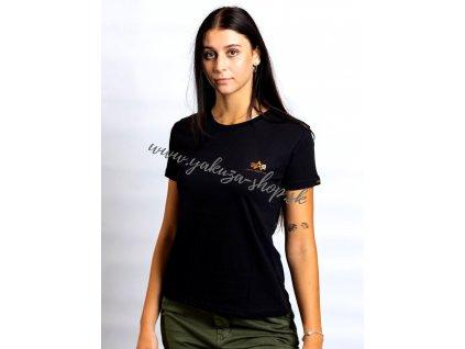 Alpha Industries Basic Small Logo T Wmn black gold dámske tričko 4