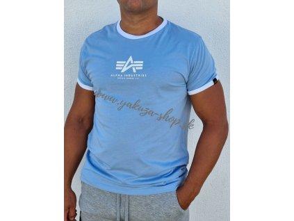 Alpha Industries Basic T Constrast ML tričko pánske light blue