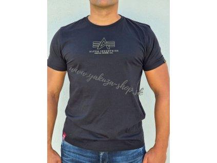 Alpha Industries Basic T ML Foil Print tričko pánske black