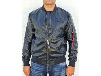 Alpha Industries MA 1 VF VEGAN LEATHER JACKET prechodná kožená bunda black