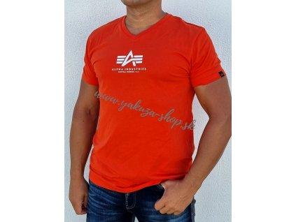Alpha Industries Basic V Neck ML T tričko pánske atomic red