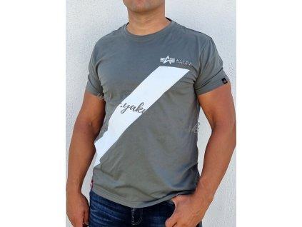Alpha Industries Diagonal Stripe T tričko pánske vintage green jediný 1 kus na Slovensku