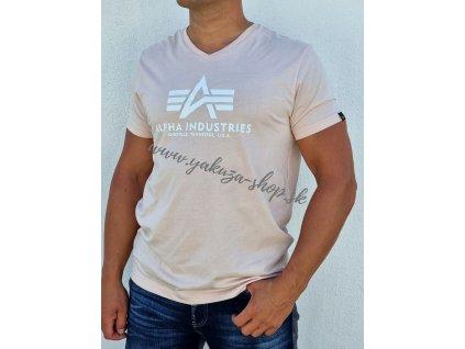 Alpha Industries Basic V Neck T tričko pánske pale peach
