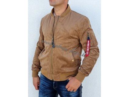 Alpha Industries MA 1 VF VEGAN SUEDE JACKET prechodná kožená bunda khaki a