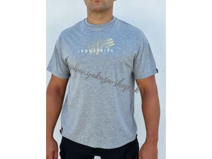 Alpha Industries Gold Logo OS T tričko pánske Grey
