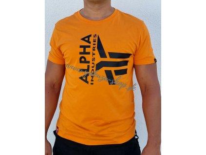 Alpha Industries Half Logo Foam T tričko pánske Alpha Orange