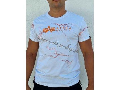 Alpha Industries Lightring AOP T tričko pánske White Orange