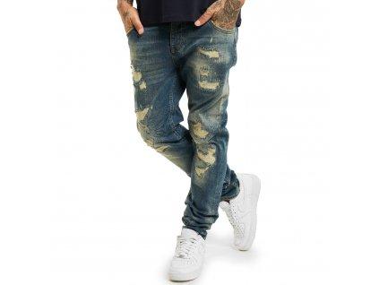 Yakuza jeansy pánske 420 STRAIGHT JEANS JEB 17058 blue bronze destroyed