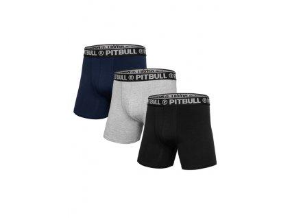PitBull West Coast boxerky 3 ks v balení Black Grey Navy