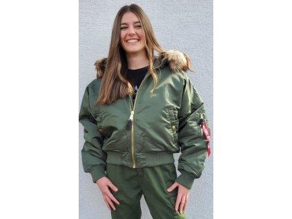 Alpha Industries MA 1 OS HOODED Wmn dámska zimná bunda sage green
