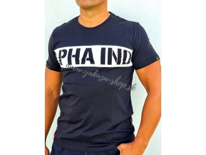 Alpha Industries Printed Stripe T black tričko pánske