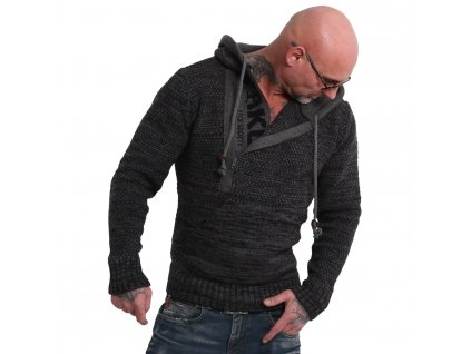 Yakuza sveter pánsky GEEP KNIT HOB 18086 dark grey mellange
