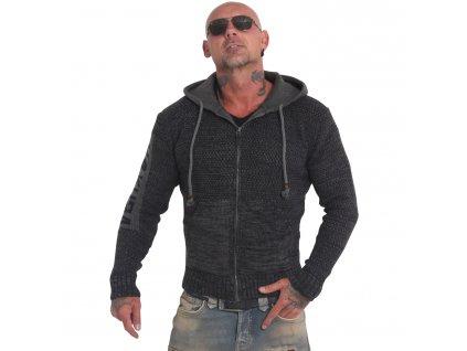 Yakuza SPOOSH Knit Zip Hoodie pánsky sveter HZB 18087 dark grey mellange