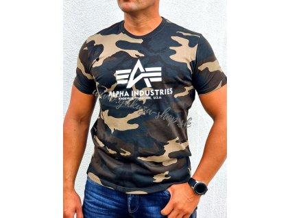 Alpha Industries Basic T Shirt Camo tričko pánske woodl camo
