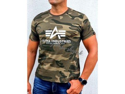 Alpha Industries Basic T Shirt Camo tričko pánske olive camo