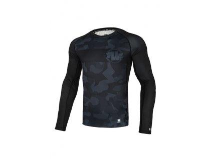 PitBull West Coast Rashguard tričko pánske s dlhým rukávom DILLARD CASINO Performance Pro Plus black grey