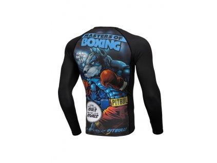 PitBull West Coast Rashguard tričko pánske s dlhým rukávom Performance Pro Plus MASTER OF BOXING black